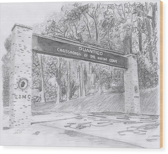 Quantico Welcome Graphite Wood Print