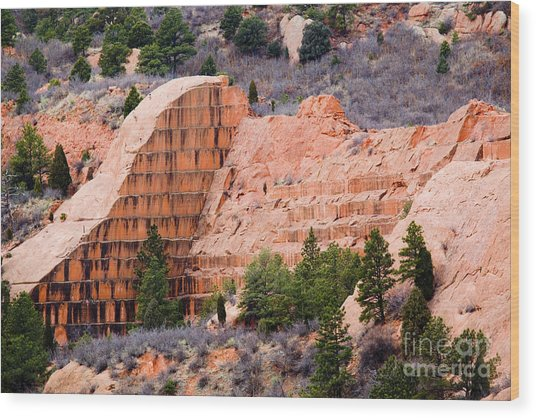 Quarry Closup At Red Rock Canyon Colorado Springs Wood Print