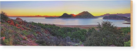 Quartz Mountains And Lake Altus Panorama - Oklahoma Wood Print