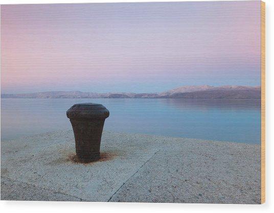 Quay In Dawn Wood Print