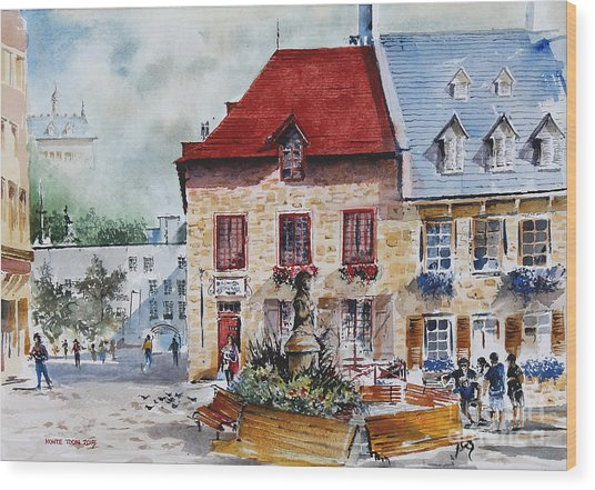 Quebec City Flower Boxes Wood Print
