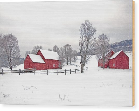 Quechee Barns In Winter Wood Print