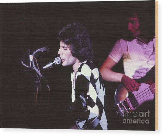 Queen 1975 Freddie Mercury Wood Print by Chris Walter