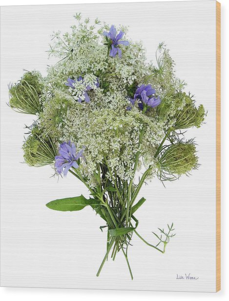 Queen Anne's Lace With Purple Flowers Wood Print