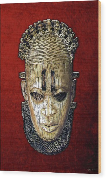 Queen Mother Idia - Ivory Hip Pendant Mask - Nigeria - Edo Peoples - Court Of Benin On Red Velvet Wood Print