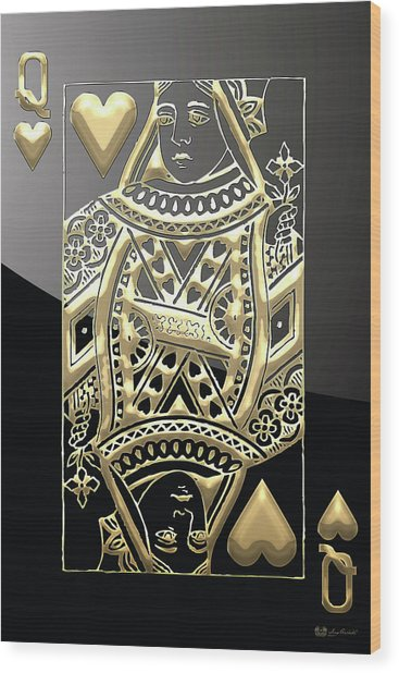 Queen Of Hearts In Gold On Black Wood Print