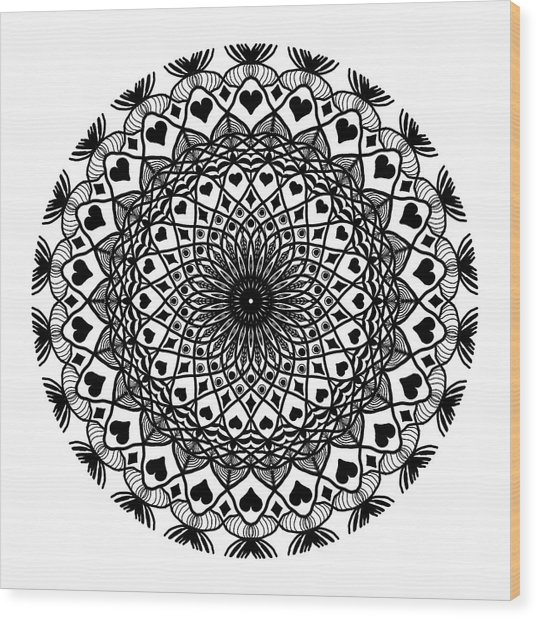 Queen Of Hearts King Of Diamonds Mandala Wood Print
