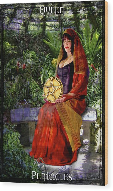 Queen Of Pentacles Wood Print by Tammy Wetzel