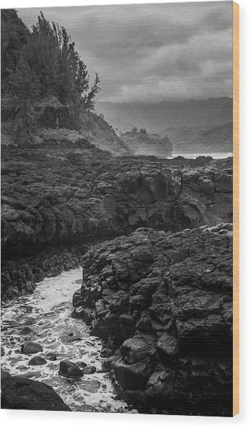 Queens Bath Kauai Wood Print