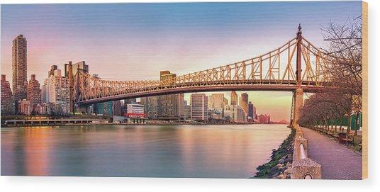 Queensboro Bridge At Sunset Wood Print