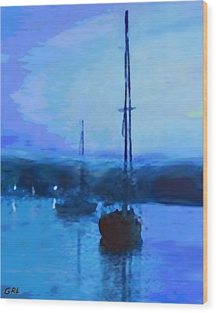 Quiet Evening Maryland Chesapeake Bay Detail Multimedia Fine Art Painting Wood Print by G Linsenmayer