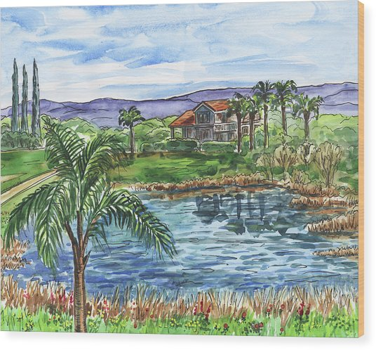 Quiet House Next To The Pond Wood Print