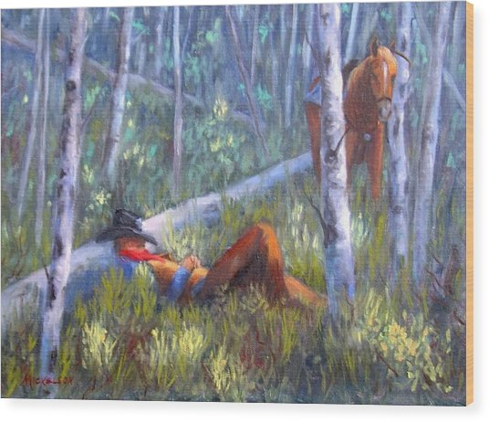 Quiet Siesta Wood Print by Debra Mickelson