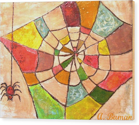 Wood Print featuring the painting Quilted Web by Angelique Bowman