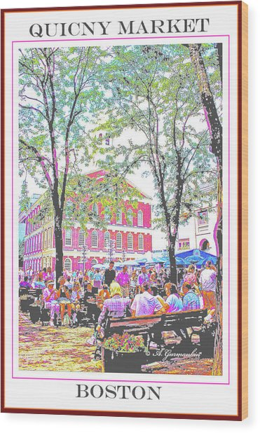 Quincy Market, Boston Massachusetts, Poster Image Wood Print
