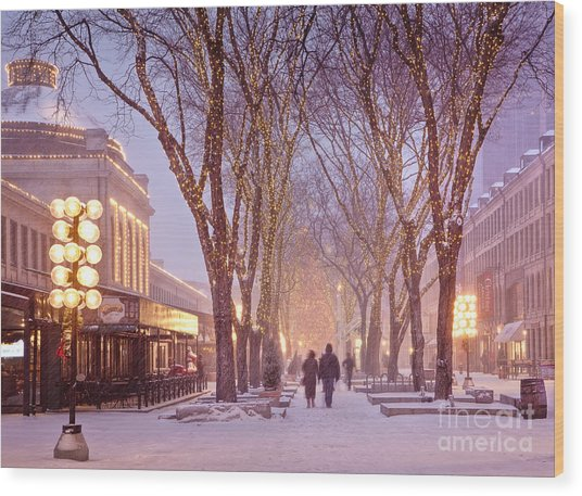 Quincy Market Stroll Wood Print