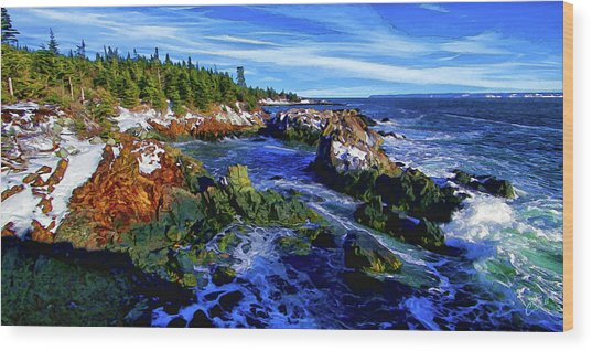 Quoddy Coast Snow Wood Print
