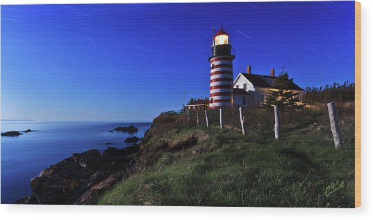 Quoddy Head By Moonlight Wood Print