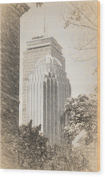 R2d2 Building And The Prudential Center Wood Print