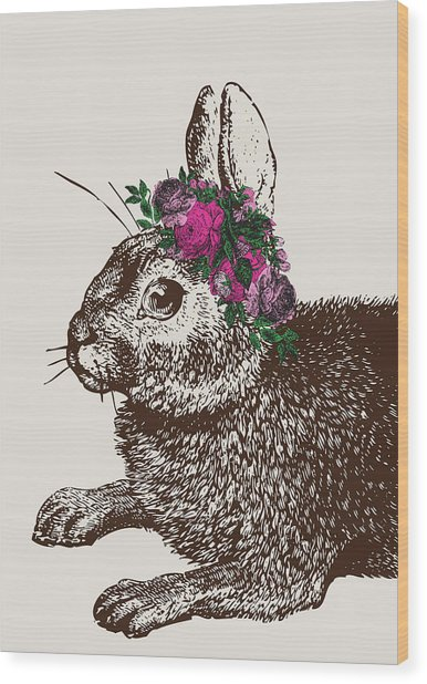 Rabbit And Roses Wood Print