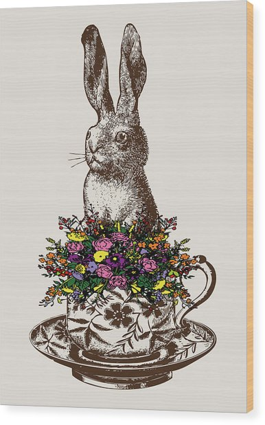 Rabbit In A Teacup Wood Print