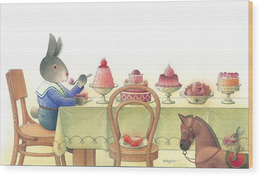 Rabbit Marcus The Great 10 Wood Print by Kestutis Kasparavicius