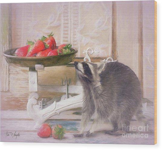 Raccoon And Strawberries Wood Print by Tim Wemple