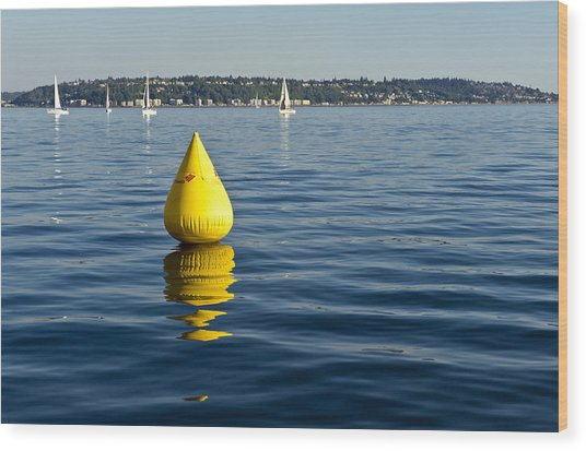 Race Pylon Bouy Wood Print by Tom Dowd