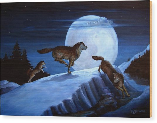 Race The Moon Wood Print by Tanja Ware