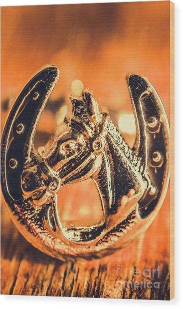 Racehorse Luck Wood Print