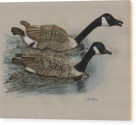 Racing Geese Wood Print by Cynthia  Lanka