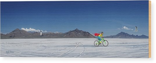Racing On The Bonneville Salt Flats Wood Print