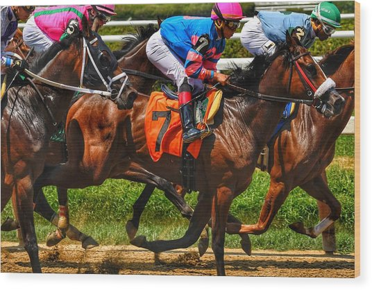 Racing Tight Wood Print