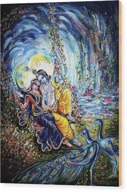 Radha Krishna Jhoola Leela Wood Print