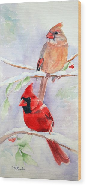 Radiance Of Cardinals Wood Print