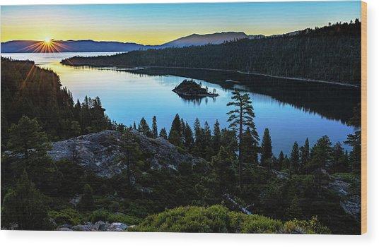 Radiant Sunrise On Emerald Bay Wood Print