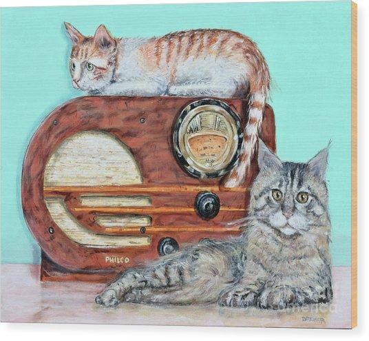 Radio Cats Wood Print by Chris Dreher