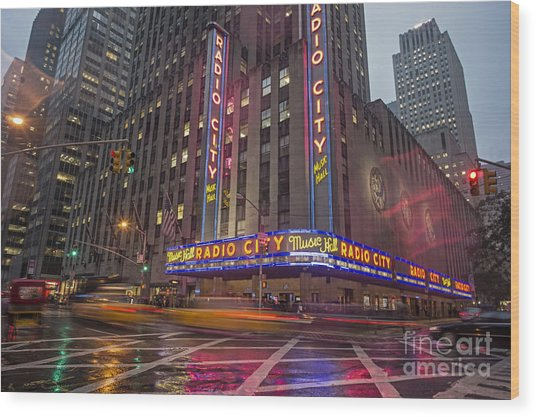 Wood Print featuring the photograph Radio City New York  by Juergen Held