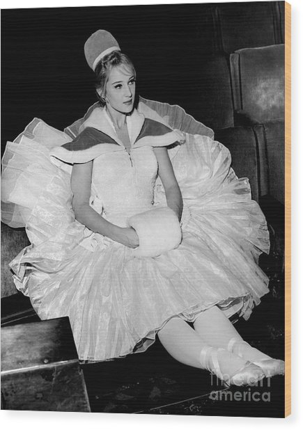 Radio City Rockette, Patricia Wilkins, Rest During Rehearsal. 1965 Wood Print
