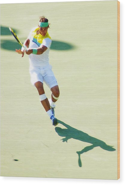 Rafael Nadal Shadow Play Wood Print