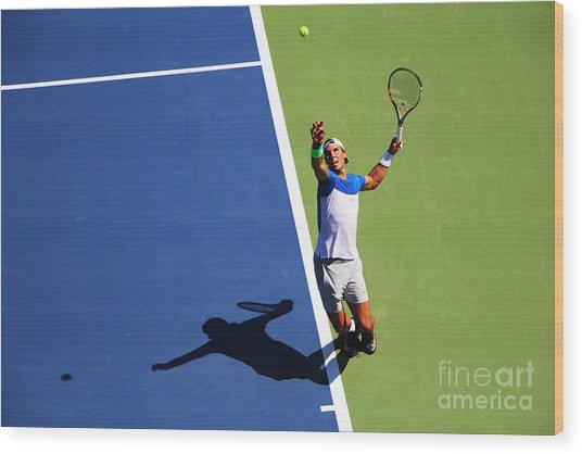 Rafeal Nadal Tennis Serve Wood Print