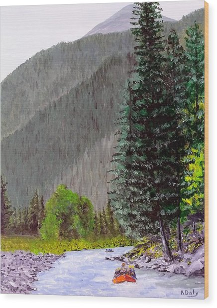 Rafting The Gallatin Wood Print