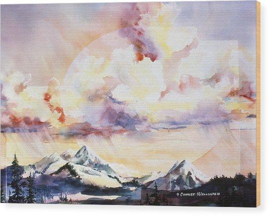 Ragged Mountains Sunset Wood Print