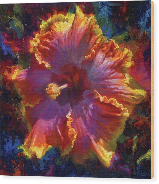 Rainbow Hibiscus Tropical Flower Wall Art Botanical Oil Painting Radiance  Wood Print