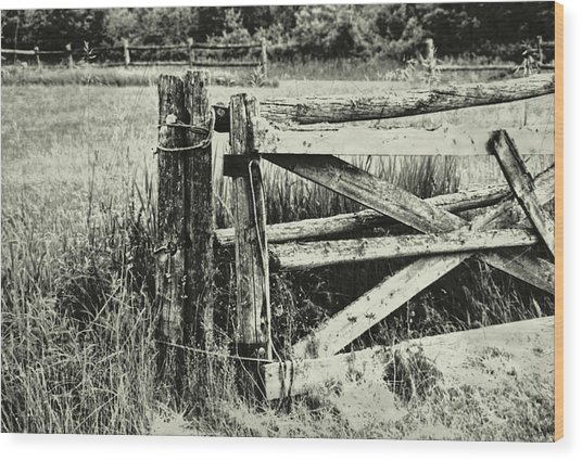 Rail Fence Wood Print by JAMART Photography
