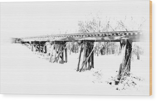 Rail Road Bridge In Winter 1 Wood Print