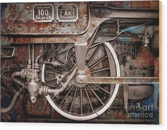 Rail Wheel Grunge Detail,  Steam Locomotive 06 Wood Print