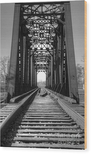 Railroad Bridge Black And White Wood Print