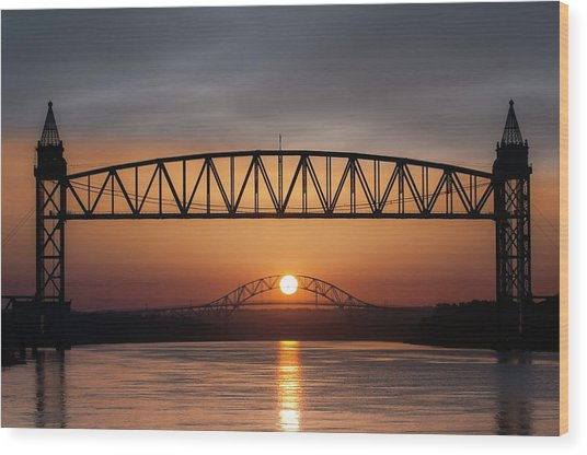 Railroad Bridge Framing The Bourne Bridge During A Sunrise Wood Print