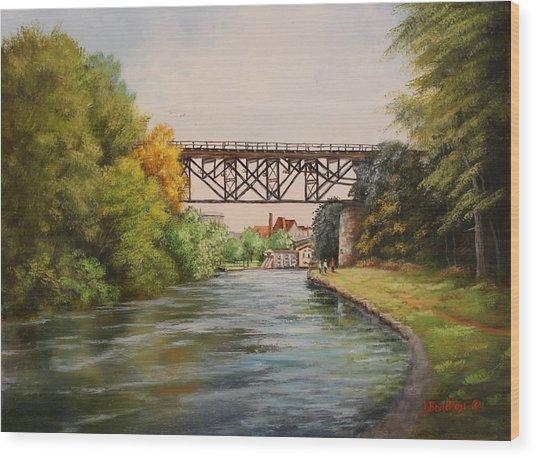 Railroad Bridge Over Erie Canal Wood Print